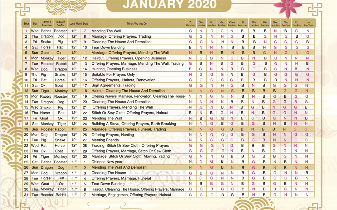 2020 Almanac Feng Shui Calendar Is Available Now ..